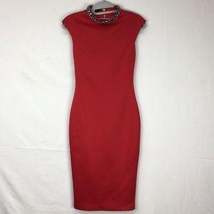 Ted Baker Red Cadyee Embellished Neck Midi Dress